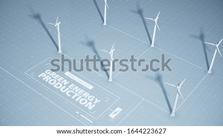 A group of wind turbines part of a wind farm or wind park create electricity and power contributing to a new form of green energy, clean background, 3D, 3D artwork, 3D rendering, 3D illustration