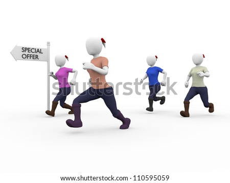 a group of women run to a special offer - stock photo