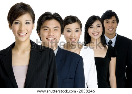 A group of young asian businessmen and women on white background (focus is on middle person)