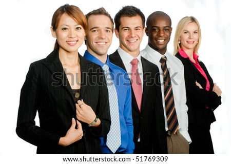 group of young, attractive and diverse business professionals in .