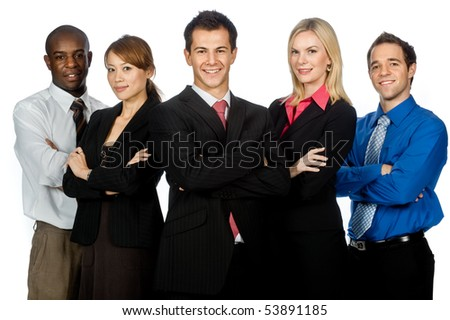 A group of young, attractive and diverse business professionals in formal wear standing together on white background