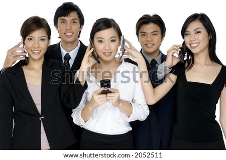 A group of young business people swapping telephone calls on white background