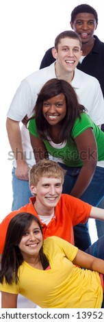 A group of young college students/friends on a white background with copy space