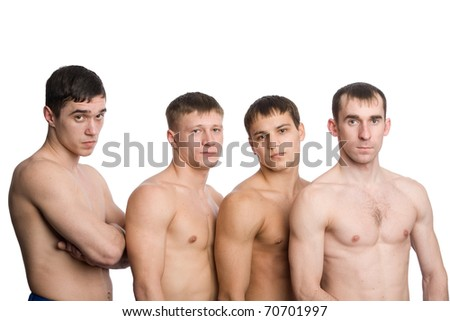 A group of young guys with muscular bodies, naked to the waist.