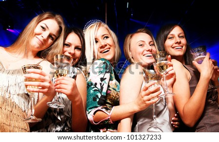 A group of young people in club - stock photo