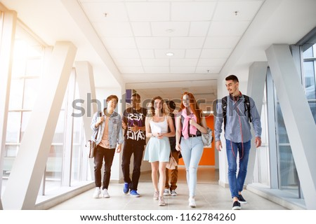 A group of young students from different countries go to classes. The photo illustrates education, College, school, or University.