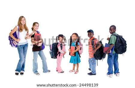 A group young school kids. diveristy in education. - stock photo