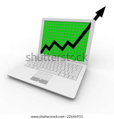 A growth arrow shoots upward on a white laptop computer screen