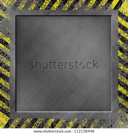 A Grunge Metal Background with Black and Yellow Stripes