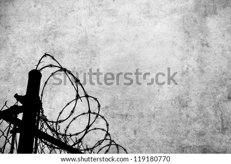 A grunge parchment with barbed wire fencing to show access restrictions for many inferences including prison, war and and borders.