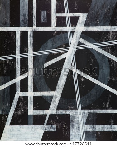 A grungy monochrome painting; white on black.