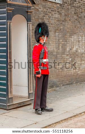 A Guard standing outside Birmingham Palace, England
