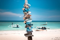 A guidepost in Gili Meno, Lombok, Indonesia