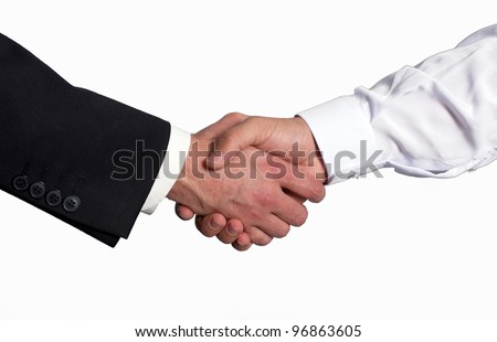 A gulf business man shake hand with a western business man