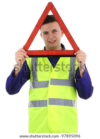 A guy holding a hazard warning triangle, isolated on white