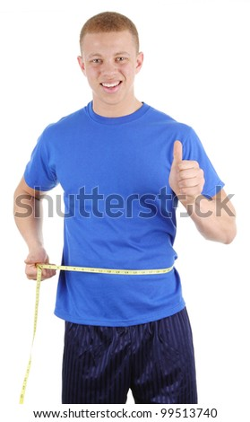 A guy holding a tape measure around his waist. Isolated on white - stock photo