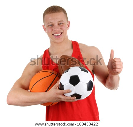 A guy holding three different sports balls, isolated on white