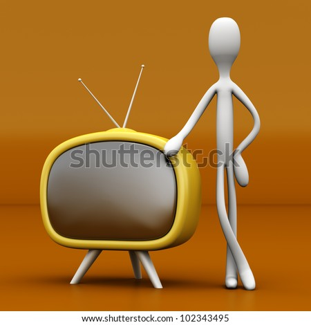 A Guy leaning on a TV. 3D rendered cartoon illustration.