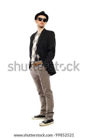 a guy on a white background