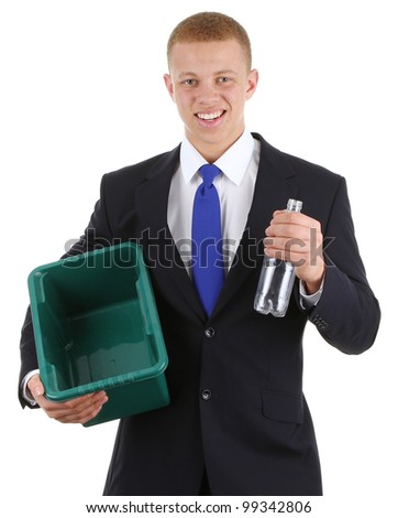 A guy recycling a plastic bottle, isolated on white - stock photo