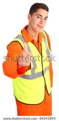 A guy wearing safety equipment with a thumbs up sign
