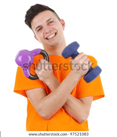 A guy with weights, isolated on white