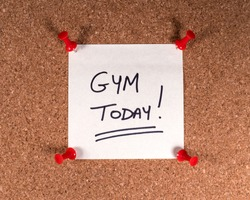 A Gym Today! memo note pinned to a noticeboard.