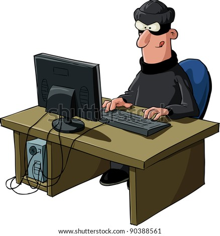 A hacker on a white background, raster