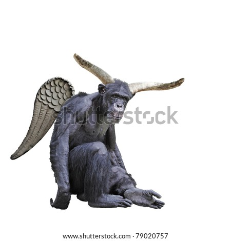 A hairy chimpanzee with big devil horns and wings isolated against white.