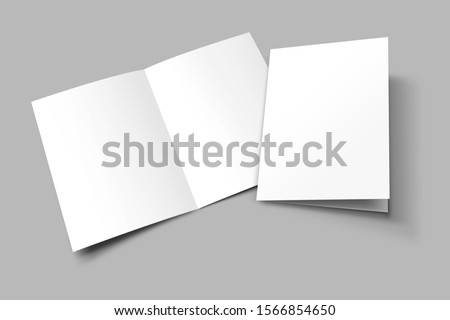 A3 half fold Blank opened and closed 3D illustration magazine mock-up with cover. Book, Brochure, Pamphlet, Catalog empty mockup for Presentation on isolated light grey background. 3D illustrating