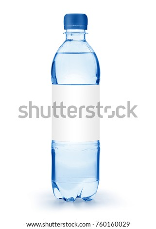 A half liter disposable plastic bottle with a blue cap and white label isolated on white background with clipping path and original shadow #760160029