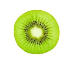 A half of fresh kiwi fruits isolated on white background.