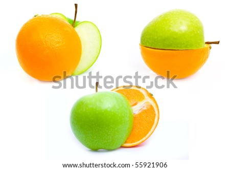a half of green apple and orange together isolated on white set