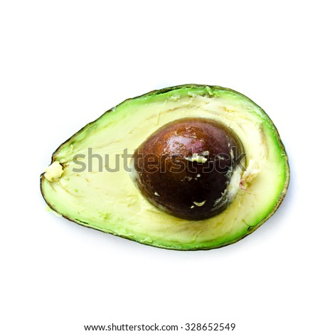 A half with seed of organic fresh ripe avocado isolated on white background