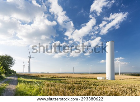 A halfway deconstructed wind turbine in a wind park that collapsed during a storm in the Eifel, Germany.
