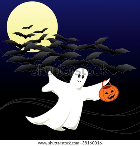 A Halloween Ghost  going for Trick or Treating with a pumpkin bucket in his hand. Flying bats on a moonlit dark sky in the background.