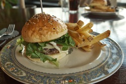 A hamburger and chips(frenchfries). The hamburger bun with sesame seeds on it.