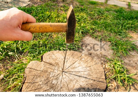 A hammer hammers a nail into a stump - a working tool #1387655063