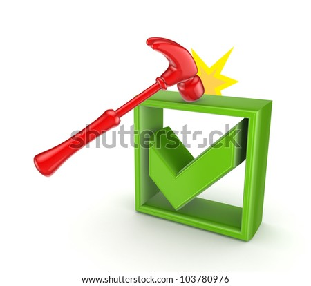 A hammer that hits green tick mark.isolated on white background.