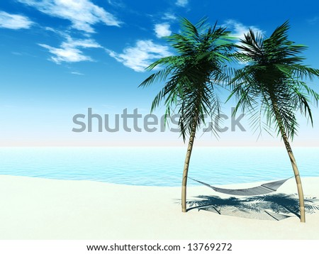 A hammock between two palmtrees on the beach with the ocean in the  background on a sunny day.
