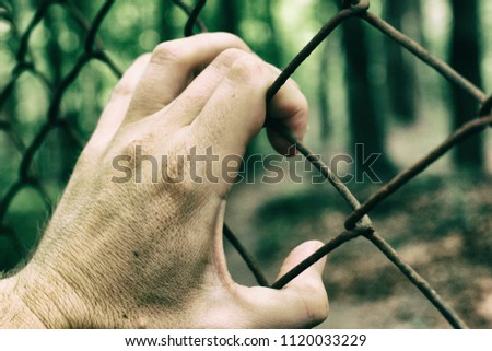 A hand and a fence that symbolizes captivity and a desire for freedom #1120033229