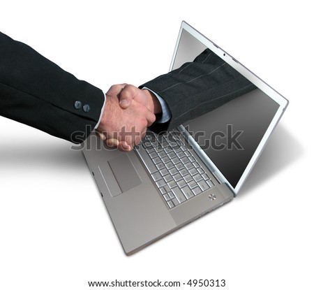A hand comes right out of the laptop screen to shake hands and close the sale