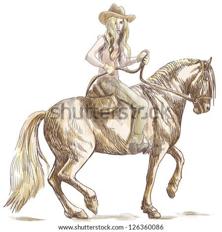 A hand drawn illustration of an beauty with long hair riding a horse. /// Color version on white background.