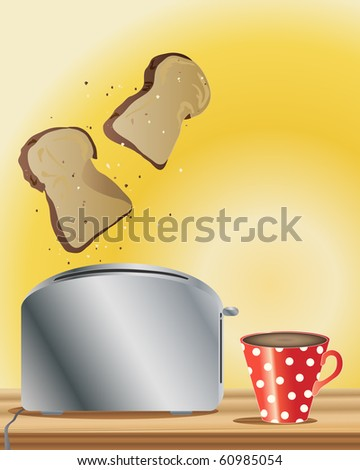 a hand drawn illustration of freshly made toast and a cup of hot coffee on a yellow background