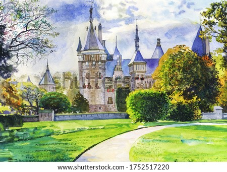 A hand-drawn watercolor drawing. Ancient castle