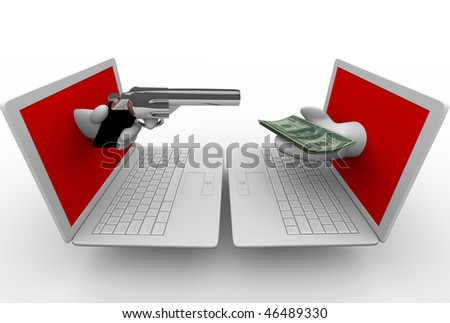 A hand emerging from a laptop computer screen aims a gun at another computer while a hand from the other holds money.