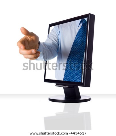 A hand giving a shake from a monitor