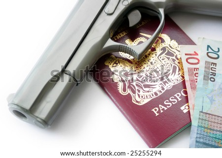 A hand Gun, Passport and Money set on a white background base.