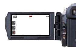 A hand held camcorder's blank LCD screen isolated on a white background.