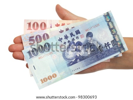 A hand holding a 100, 500 and 1000 New Taiwan Dollar bill.